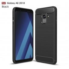 Чехол накладка TPU SK Fiber Carbon для Samsung A8 2018 Black