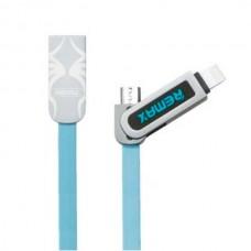 Кабель USB 2 в 1 Lightning Micro Remax OR Armor RC-067t синий