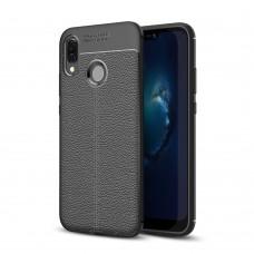 Чехол накладка TPU SK Litchi Grain для Huawei P20 Lite Black