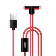Кабель USB 2 в 1 Lightning Micro Hoco X12 Magnetic L Shape 1.2m красный