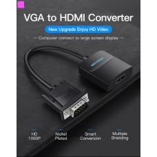 Адаптер HDMI-VGA Vention 0.2m со звуком и питанием Black (ACNBB)
