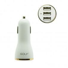 Адаптер автомобильный Golf 3 USB 3.4A GF-C07 белый