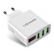 Адаптер сетевой 3USB Usams US CC035 LED 2.4A White