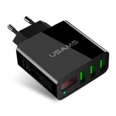 Адаптер сетевой 3USB Usams US CC035 LED 2.4A Black