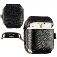 Чехол кожаный SK для наушников AirPods Black