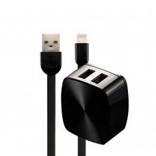 Зарядное устройство сетевое Remax 2USB 2.4A + cable Lightning RP-U215 черный