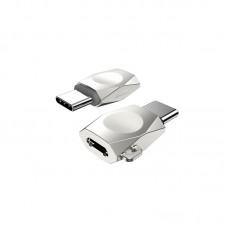 Переходник Micro USB Type-C Hoco UA8 Pearl Nickel серебристый