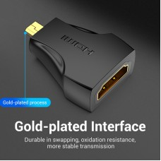 Адаптер HDMI-microHDMI Vention F/M 1080P 60Hz Upgraded gold-plated Black (AITBO)