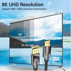 Кабель DisplayPort-DisplayPort v1.4 Vention 8K 60Hz 4K 144Hz 2K 165Hz 48Gbps 2m Black (HCABH)