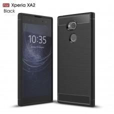 Чехол накладка TPU SK Fiber Carbon для Sony Xperia XA2 Black