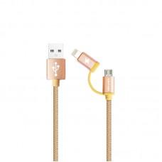 Кабель USB 2 в 1 Lightning Micro Awei CL-930 iPhone 5 золотистый