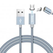 Кабель USB-MicroUSB Hoco U40A Magnetic Adsorption 1.2m Grey