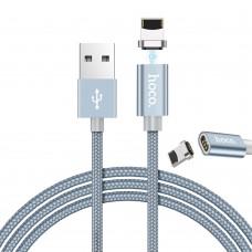 Кабель USB-Lightning Hoco U40A Magnetic Adsorption 1.2m Grey